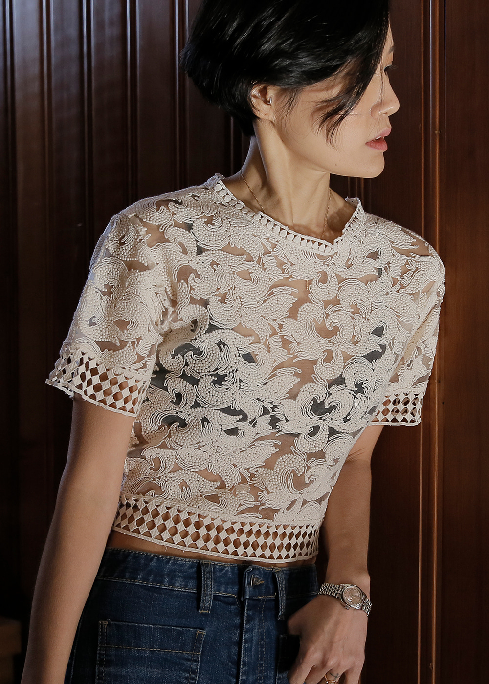 Came Upon Lace Crop Top Paisley